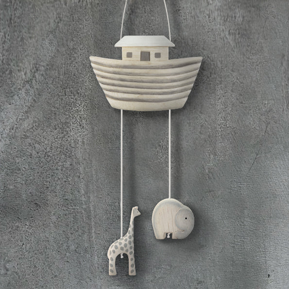 East of India natural wooden Noah's Ark baby mobile. Would make a beautiful addition to a babies nursery.