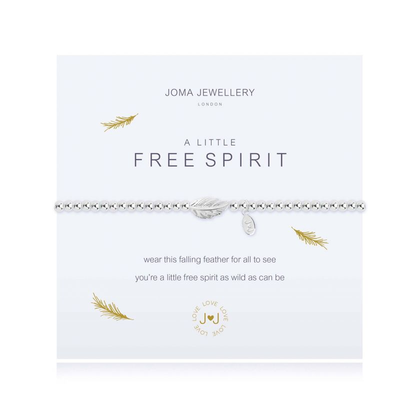 "Joma Jewellery 'a little' bracelet with feather charm, presented on a sentiment card which reads: ''wear this falling feather for all to see you're a little free spirit as wild as can be"" Beautifully packaged in it's own Joma Jewellery envelope and gifting card. Metal Type: Silver plated brass Dimensions: 17.5 cm"
