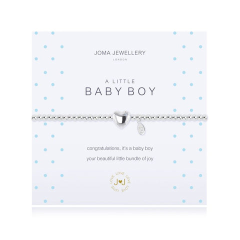 Joma Jewellery 'a little' bracelet with heart charm, presented on a sentiment card which reads: 'congratulations, it's a baby boy your beautiful little bundle of joy' Beautifully packaged in it's own Joma Jewellery envelope and gifting card. Metal Type: Silver plated brass Dimensions: 17.5 cm