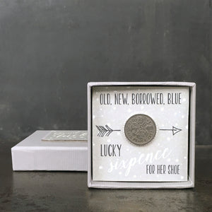 Boxed Old, New, Borrowed, Blue Sixpence from East of India which reads;  'Old New Borrowed Blue Lucky Sixpence For Her Shoe'