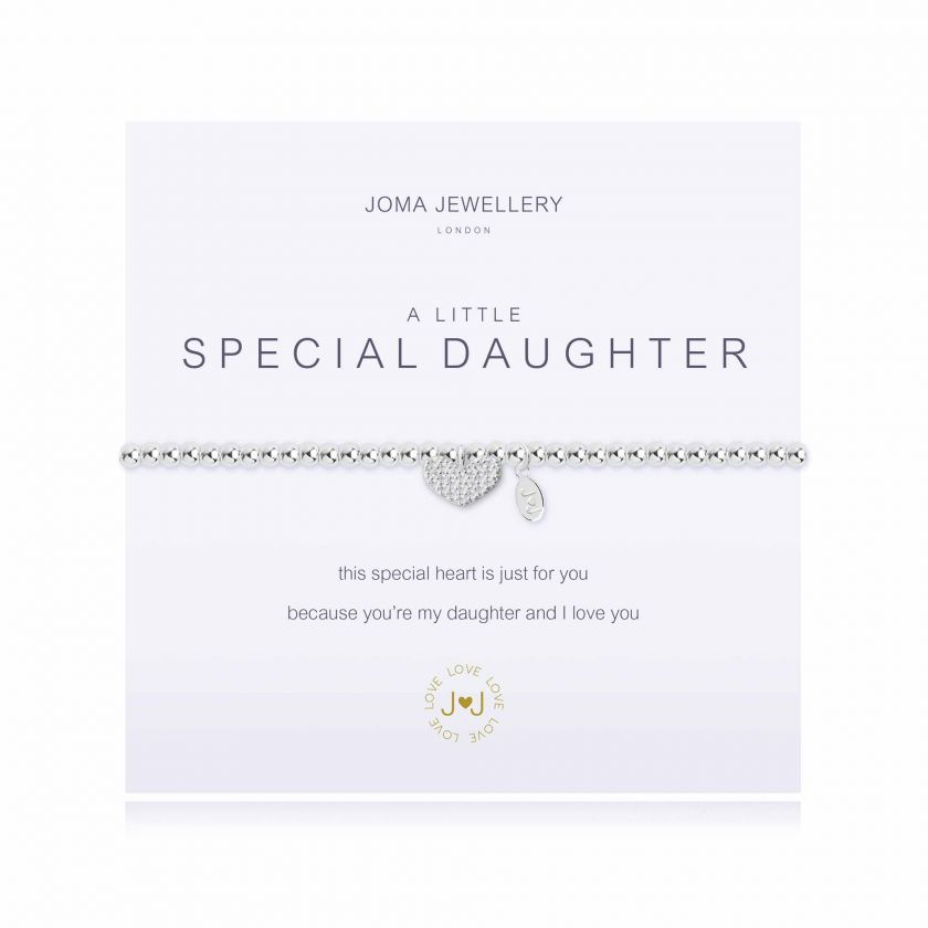 Joma Jewellery 'a little' bracelet with heart charm, presented on a sentiment card which reads: 'this special heart is just for you, because you're my daughter and I love you' Beautifully packaged in it's own Joma Jewellery envelope and gifting card. Metal Type: Silver plated brass Dimensions: 17.5 cm
