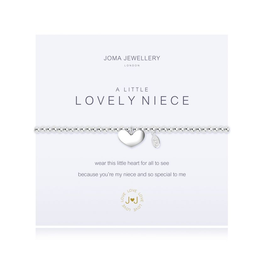 Joma Jewellery 'a little' bracelet with heart charm, presented on a sentiment card which reads: 'wear this little heart for all to see because you're my niece and so special to me' Beautifully packaged in it's own Joma Jewellery envelope and gifting card. Metal Type: Silver plated brass Dimensions: 17.5 cm