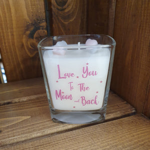 Jar Candle - Love You To The Moon and Back  This gorgeous scented square jar candle features the message 'Love You To The Moon and Back. Beautifully finished with small wax hearts on top and presented in its very own gift box.