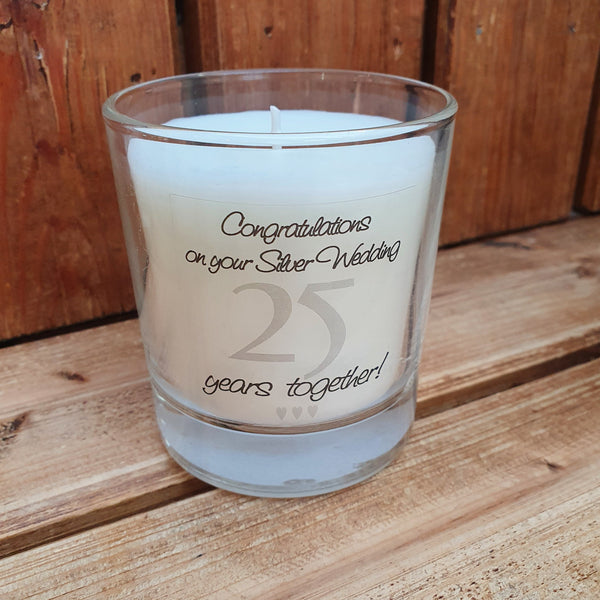 This 25th Wedding Anniversary jar candle comes in its own gift box and is a perfect gift for a couple celebrating 25 years together.