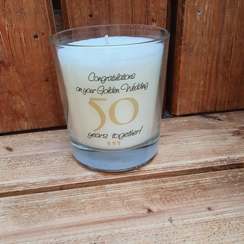 This 50th Wedding Anniversary jar candle comes in its own gift box and is a perfect gift for a couple celebrating 50 years together.