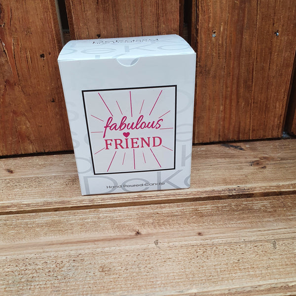 This gorgeous scented square jar candle features the message 'Fabulous Friend'. Beautifully finished with small wax hearts on top and presented in its very own gift box.