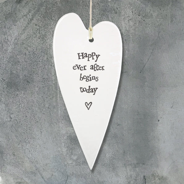 White Hanging Long 'Wobbly' Porcelain Heart from East of India which reads:  'Happy ever after begins today'