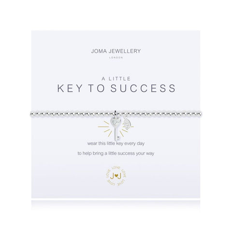 "Joma Jewellery 'a little' bracelet with key charm, presented on a sentiment card which reads: ''wear this little key everyday to help bring a little success your way"" Beautifully packaged in it's own Joma Jewellery envelope and gifting card. Metal Type: Silver plated brass Dimensions: 17.5 cm"