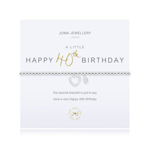 Joma Jewellery  'A Little' Happy 40th Birthday Bracelet