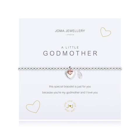 "Joma Jewellery 'a little' bracelet with pretty heart charms, presented on a sentiment card which reads: 'This special bracelet is just for you because you're my Godmother and I love you'"" Beautifully packaged in it's own Joma Jewellery envelope and gifting card. Metal Type: Silver plated brass Dimensions: 17.5 cm"