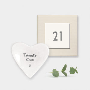 East of India gift boxed porcelain heart dish which reads 'Twenty One'.  Beautiful 21st Birthday gift.  Material:  porcelain