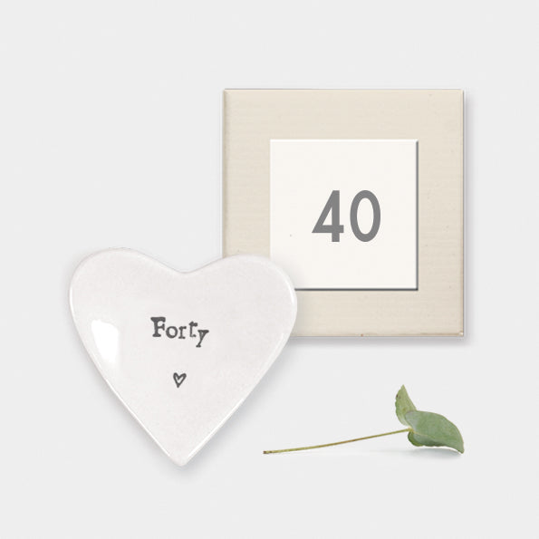 East of India gift boxed porcelain heart dish which reads 'Forty'.  Beautiful 40th Birthday gift.  Material:  porcelain