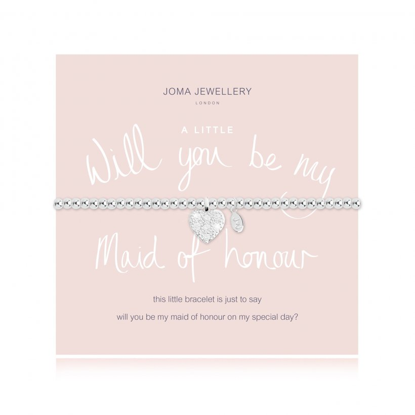 Joma Jewellery 'a little' bracelet with cubic zirconia heart charm, presented on a sentiment card which reads:  'This little bracelet is just to say will you be my maid of honour on my special day?'