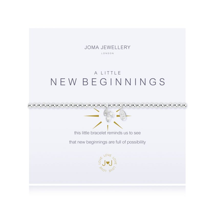 "Joma Jewellery 'a little' bracelet with pretty charm, presented on a sentiment card which reads: ''this little bracelet reminds us to see that new beginnings are full of possibity"" Beautifully packaged in it's own Joma Jewellery envelope and gifting card. Metal Type: Silver plated brass Dimensions: 17.5 cm"