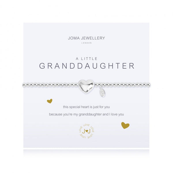 Joma Jewellery 'a little' bracelet with heart charm, presented on a sentiment card which reads:  'This special heart is just for you because you're my granddaughter and I love you'