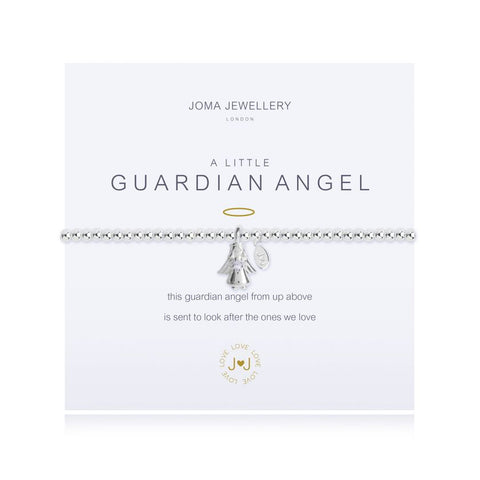 "Joma Jewellery 'a little' bracelet with angel charm, presented on a sentiment card which reads: ''this guardian angel from up above, is sent to look after the ones we love"" Beautifully packaged in it's own Joma Jewellery envelope and gifting card. Metal Type: Silver plated brass Dimensions: 17.5 cm"