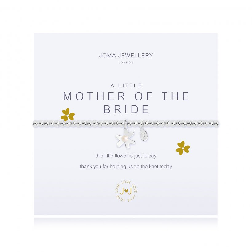 Joma Jewellery 'a little' faceted bracelet with beautiful flower charm, presented on a sentiment card which reads:  'This little flower is just to say thank you for helping us tie the knot today'