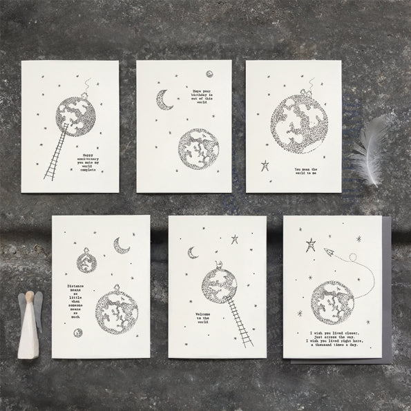 This East of India out of this world card features the greeting:  'You mean the world to me.'  With a pretty world illustration and blank inside for your own message.