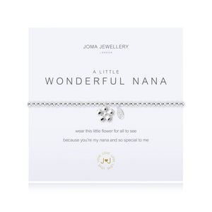Joma Jewellery 'a little' bracelet with flower charm, presented on a sentiment card which reads: 'wear this little flower for all to see because you're my nana and so special to me' Beautifully packaged in it's own Joma Jewellery envelope and gifting card. Metal Type: Silver plated brass Dimensions: 17.5 cm