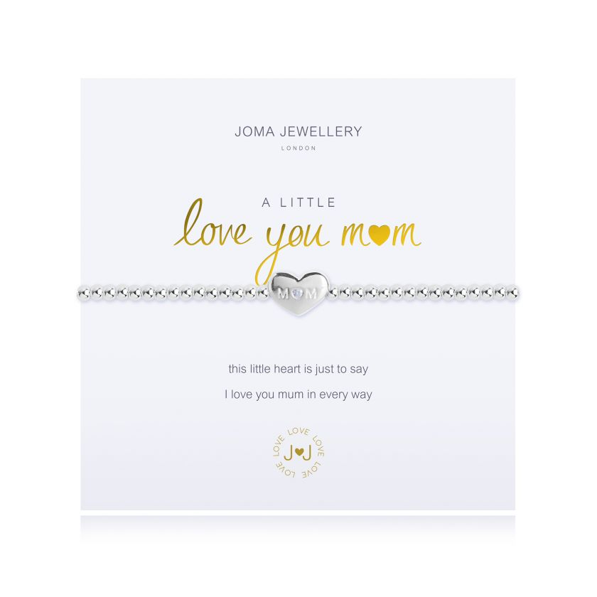 Joma Jewellery 'a little' bracelet with heart charm, presented on a sentiment card which reads: 'this little heart is just to say, I love you mum in every way' Beautifully packaged in it's own Joma Jewellery envelope and gifting card. Metal Type: Silver plated brass Dimensions: 17.5 cm