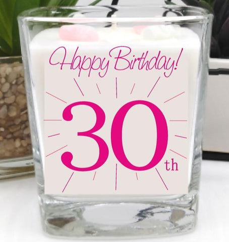 This gorgeous scented square jar candle features the message 'Happy Birthday 30th'. Beautifully finished with small wax hearts on top and it comes in its very own gift box.