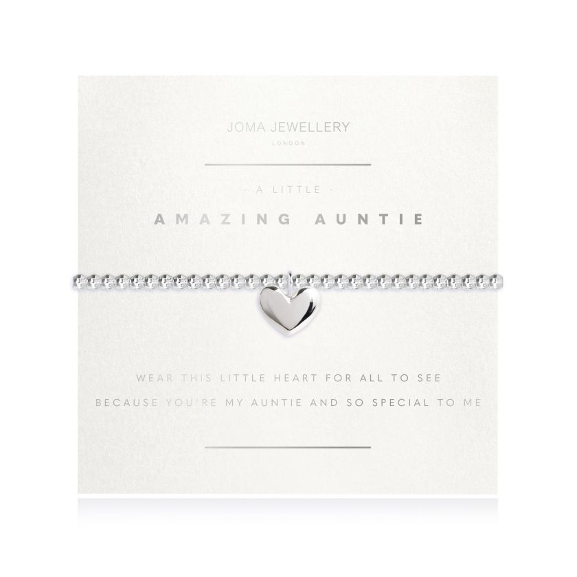 Joma Jewellery 'a little' bracelet with heart charm, presented on a sentiment card which reads: 'wear this little heart for all to see, because you're my auntie and so special to me' Beautifully packaged in it's own Joma Jewellery envelope and gifting card. Metal Type: Silver plated brass Dimensions: 17.5 cm
