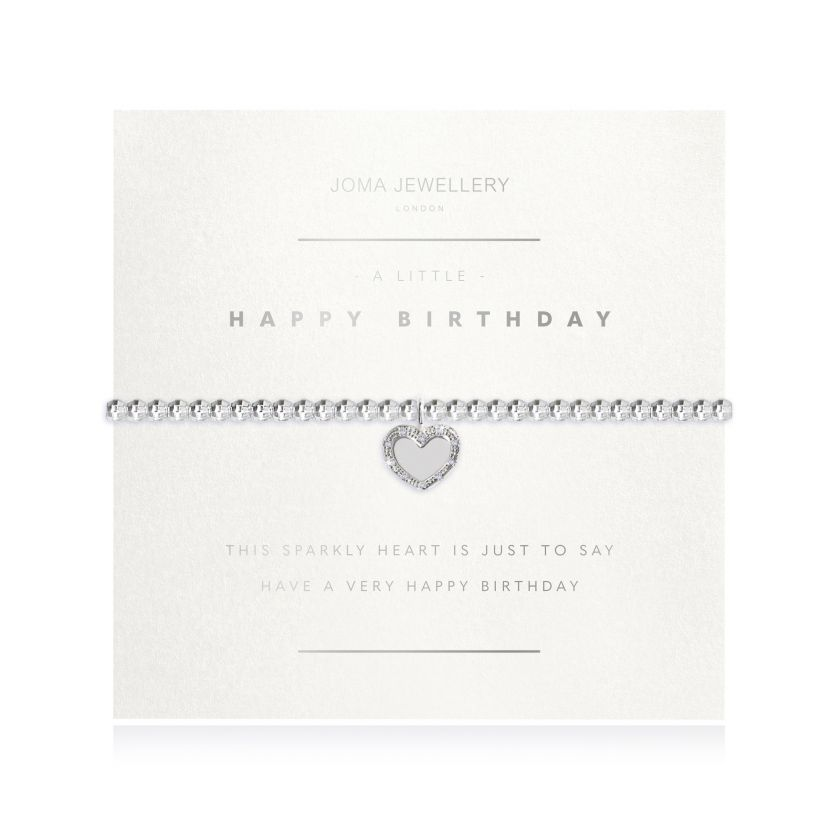 Joma Jewellery 'a little' bracelet with heart charm, presented on a sentiment card which reads: 'this sparkly heart is just to say, have a very happy birthday' Beautifully packaged in it's own Joma Jewellery envelope and gifting card. Metal Type: Silver plated brass Dimensions: 17.5 cm