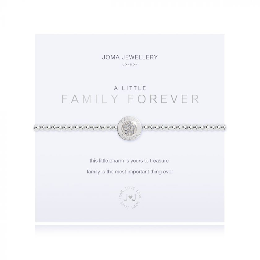 Joma Jewellery 'a little' bracelet with 'family forever' charm, presented on a sentiment card which reads: 'this little charm is yours to treasure, family is the most important thing ever' Beautifully packaged in it's own Joma Jewellery envelope and gifting card. Metal Type: Silver plated brass Dimensions: 17.5 cm