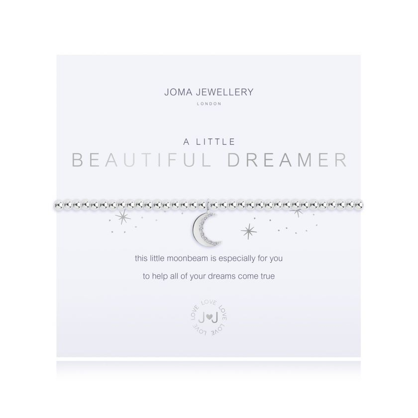 "Joma Jewellery 'a little' bracelet with moonbeam charm, presented on a sentiment card which reads: ''this little moonbeam is especially for you, to help all of your dreams come true"" Beautifully packaged in it's own Joma Jewellery envelope and gifting card. Metal Type: Silver plated brass Dimensions: 17.5 cm"