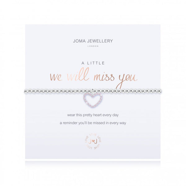 Joma Jewellery 'a little' bracelet with heart charm, presented on a sentiment card which reads:  'wear this pretty heart every day, a reminder you'll be missed in every way'