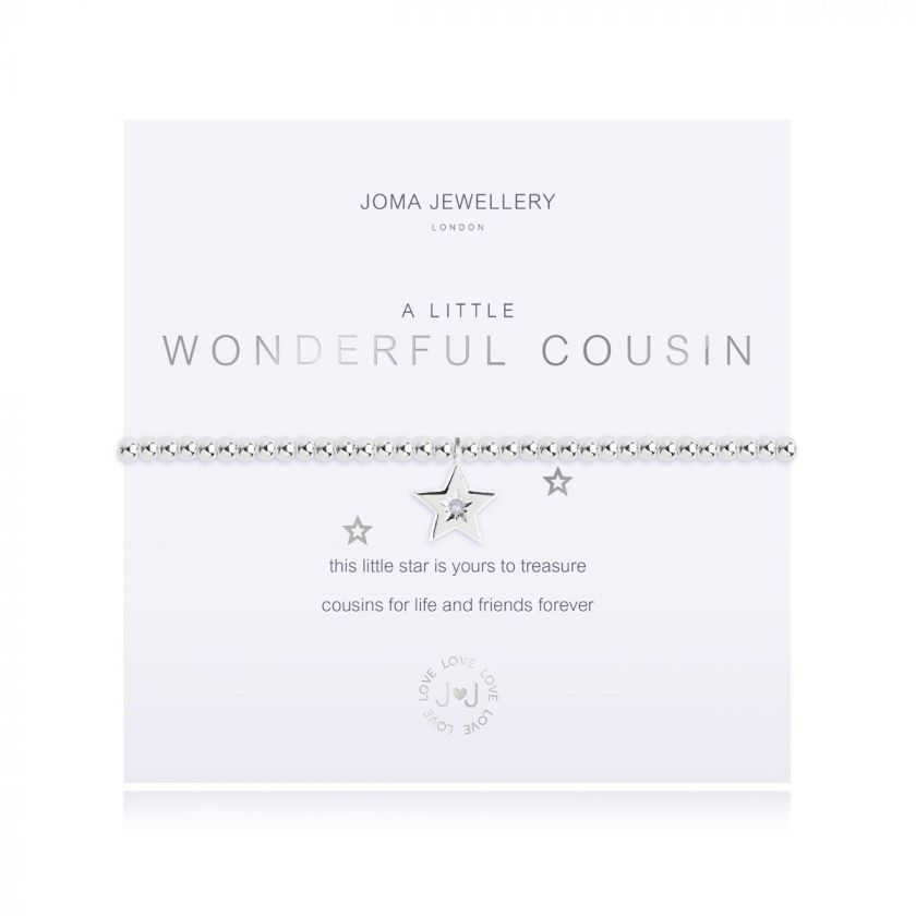 Joma Jewellery 'a little'  bracelet with 'star' charm, presented on a sentiment card which reads: 'this little star is yours to treasure cousins for life and friends forever' Beautifully packaged in it's own Joma Jewellery envelope and gifting card. Metal Type: Silver plated brass Dimensions: 17.5 cm
