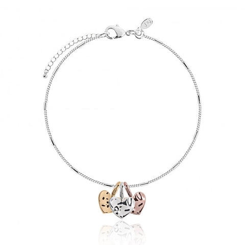 Joma Jewellerys beautiful Florence bracelet with pretty rose gold, yellow gold and silver hanging charms, presented on a sentiment card which reads:  'With Love'