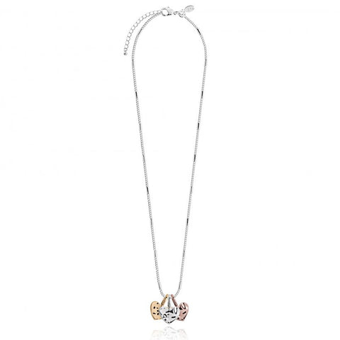 Joma Jewellerys beautiful Florence necklace with pretty rose gold, yellow gold and silver hanging charms, presented on a sentiment card which reads:  'With Love'