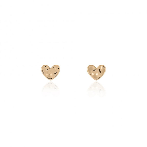 Joma Jewellerys beautiful Florence earring set with pretty rose gold, yellow gold and silver hammered heart shape studs, presented on a sentiment card which reads:  'With Love'