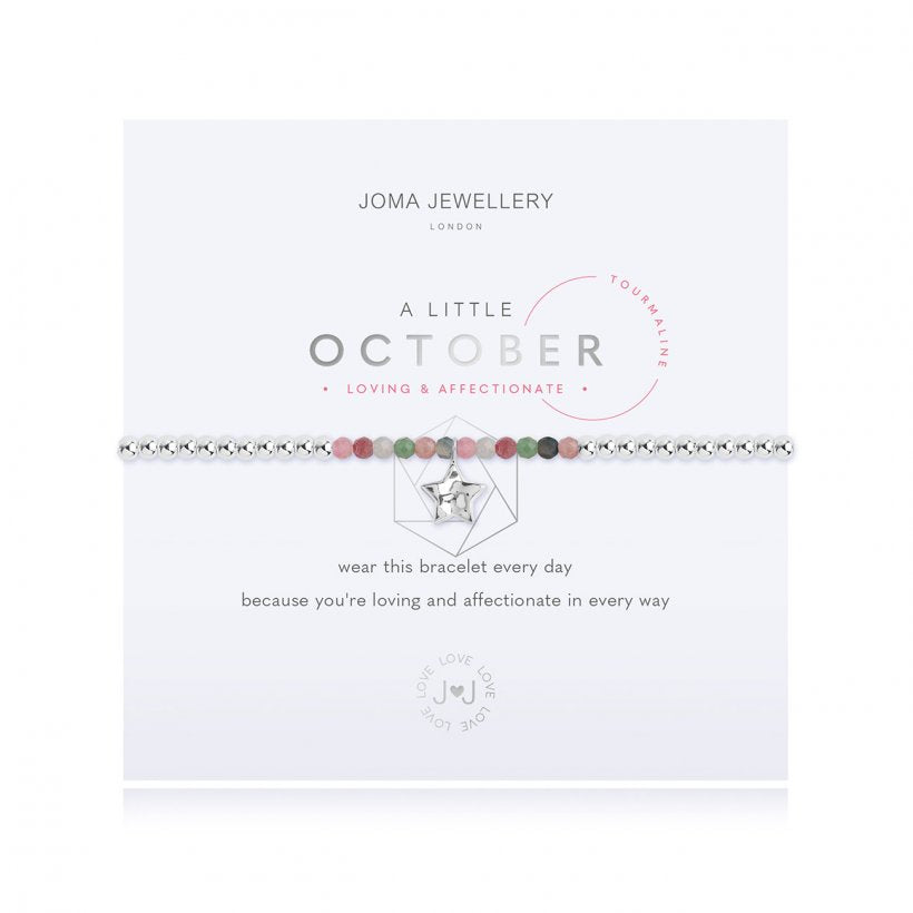 Joma Jewellery 'a little' bracelet with special tourmaline gemstones and a gently hammered silver star charm, presented on a sentiment card which reads:  'Wear this bracelet every day, because you're loving and affectionate in every way'