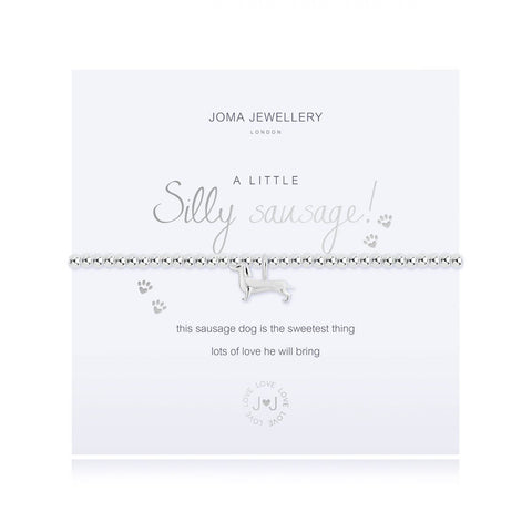 Joma Jewellery 'a little' bracelet with sausage dog charm presented on a sentiment card which reads:  'This sausage dog is the sweetest thing lots of love he will bring'