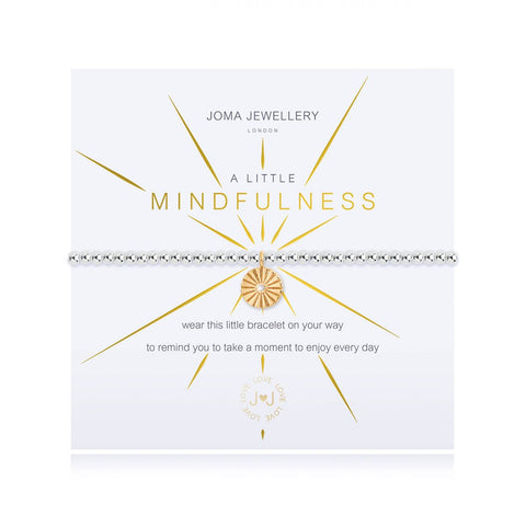 Joma Jewellery 'a little' bracelet with pretty gold coloured charm, presented on a sentiment card which reads:  ''wear this little bracelet on your way, to remind you to take a moment to enjoy everyday""