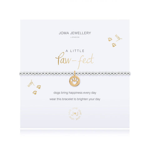 Joma Jewellery 'a little' bracelet with paw print charm presented on a sentiment card which reads:  'Dogs bring happiness every day wear this bracelet to brighten your day'
