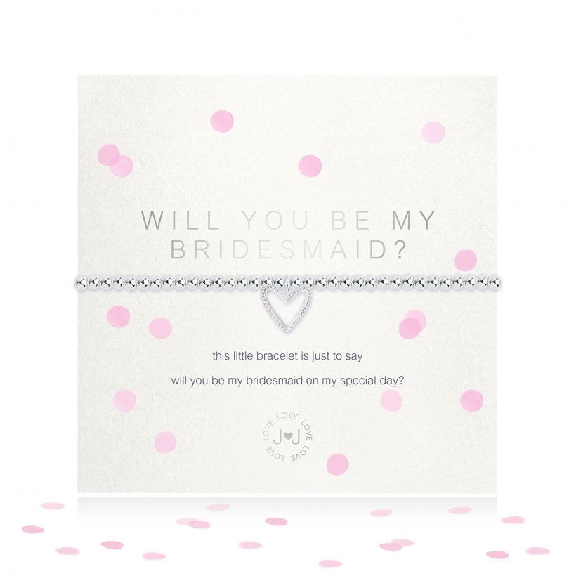 Joma Jewellery 'a little' faceted bracelet with beautiful heart charm, presented on a sentiment card which reads:  'this little bracelet is just to say, will you be my bridesmaid on my special day?'