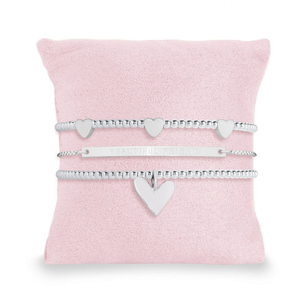 Joma Jewellery Occasion Gift Box containing 3 stunning stacking bracelets, beautifully presented on a soft suedette pillow.  The sentiment on the inside of the box and also on adjustable bracelet reads:  'Beautiful friend'
