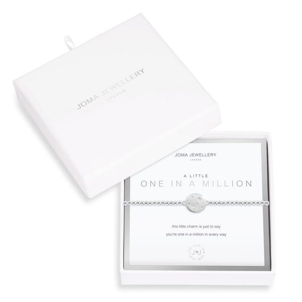 Joma Jewellery 'a little' bracelet with pretty charm, presented on a sentiment card which reads: ''this little bracelet is just to say, you're one in a million in every way""