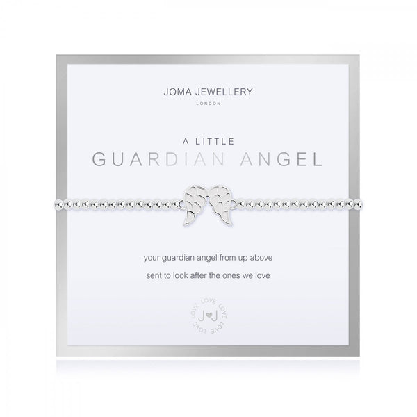 Joma Jewellery 'a little' bracelet with angel wings charm, presented on a sentiment card which reads:  ''your guardian angel up from above, sent to look after the ones we love""