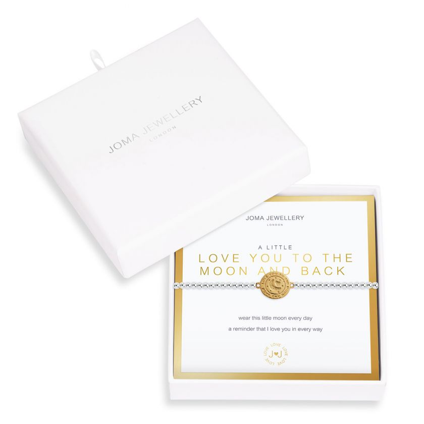 "Joma Jewellery 'a little' love you to the moon and back bracelet with golden charm, presented on a sentiment card which reads:  ""wear this little moon every day, a reminder that I love you in every way"""