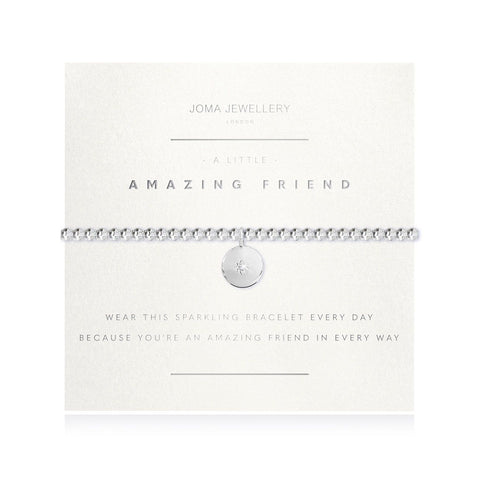 Joma Jewellery 'a little' bracelet with pretty charm, presented on a sentiment card which reads: 'wear this sparkling bracelet every day because you're an amazing friend in every way' Beautifully packaged in it's own Joma Jewellery envelope and gifting card. Metal Type: Silver plated brass Dimensions: 17.5 cm