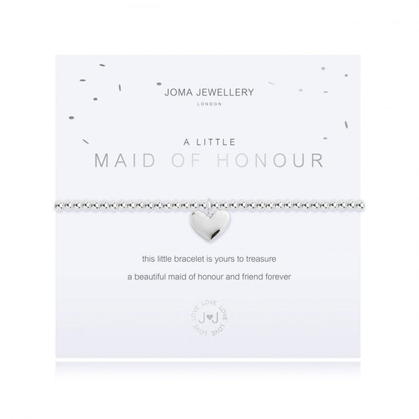 Joma Jewellery 'a little' faceted bracelet with cute heart charm, presented on a sentiment card which reads:  'this little bracelet is yours to treasure, a beautiful maid of honour and friend forever'