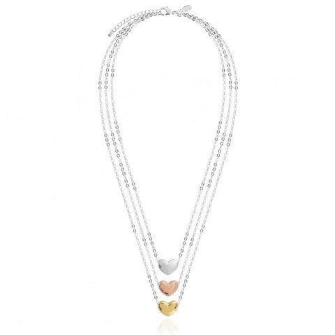 Joma Jewellerys beautiful Florence 3 layered necklace with pretty  mini heart charm in rose gold, yellow gold and silver.  The perfect gift or to add to your own collection.