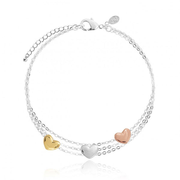 Joma Jewellerys beautiful Florence three-layered bracelet with pretty rose gold, yellow gold and silver mini heart charms.  The perfect gift or to add to your own collection.