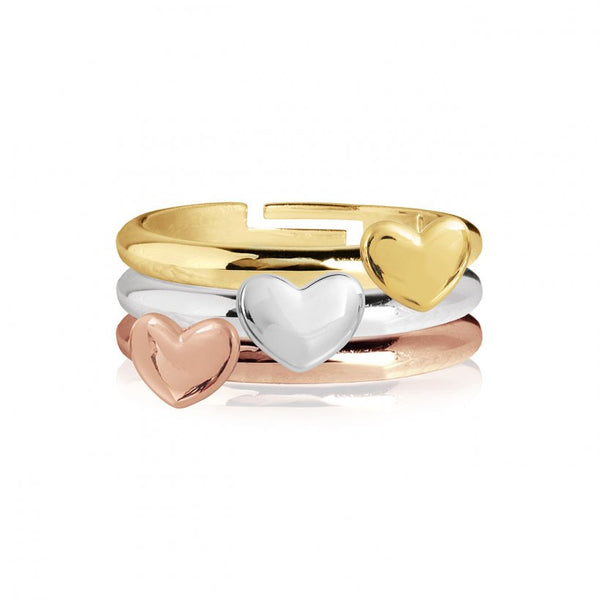 Joma Jewellerys beautiful Florence 3 ring set with pretty rose gold, yellow gold and silver mini heart stacking rings.  The perfect gift or to add to your own collection.