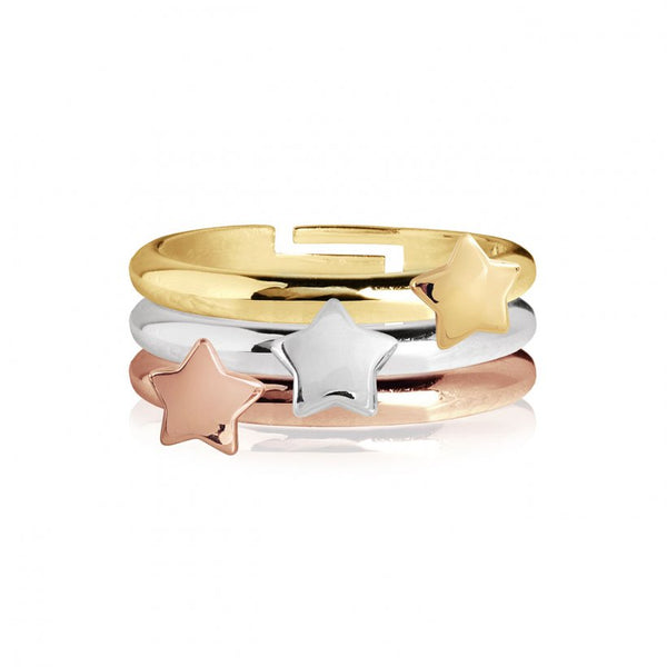 Joma Jewellerys beautiful Florence 3 ring set with pretty rose gold, yellow gold and silver mini star charm stacking rings.  The perfect gift or to add to your own collection.