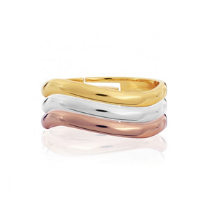Joma Jewellerys beautiful Florence 3 Loop ring set with pretty rose gold, yellow gold and silver mini halo charm stacking rings.  The perfect gift or to add to your own collection.